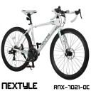 ロードバイク 700c 自転車 シマノ21段変速 軽量 アルミフレーム フロントディスクブレーキ NEXTYLE ネクスタイル RNX-7021-DC【組立必..