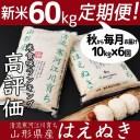 【ふるさと納税】令和3年産 はえぬき 計 60kg ! 新米