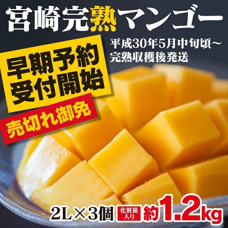 【ふるさと納税】【期間限定】【予約商品】みやざき完熟マンゴー中玉2Lサイズ3個(約1.2キロ)※平成