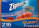 【送料無料!】【COSTCO】コストコ Ziploc 216 Bags ジップロック フリーザークオート 216枚入(1箱54枚入×4箱)(17.7cmx19.5cm)