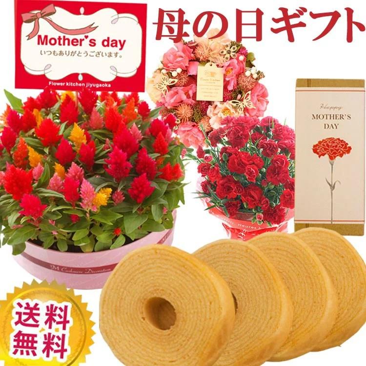母の日 プレゼント ギフト 選べる花鉢&リースとミニバウムクーヘンのセット 本州・四国は送料無料 北