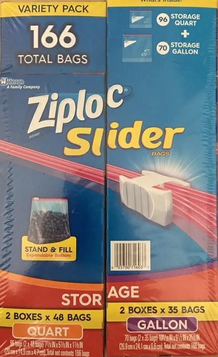 【Ziploc】ジップロック スライダーバッグ クオート96枚・ガロン70枚 166枚 入り ポイン