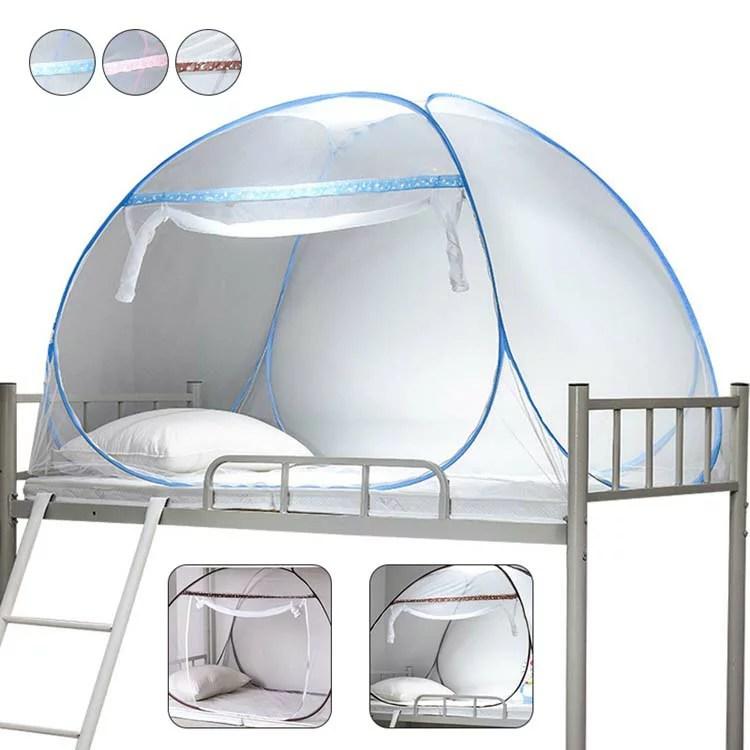 学生蚊帳 シングル 二段式ベット かや 寮 1人用 上段 下段 寝室 ワンタッチ テント式 軽量 メッシュ スタン...