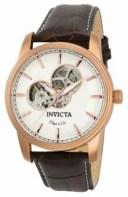 【送料無料】invicta objet d art 22618 mens round white automatic brown leather watch