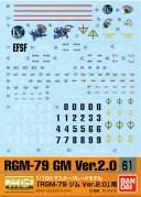 【メール便発送可】ガンダムデカール GD61 MG 1/100 RGM-79 ジム Ver.2.0 (機動戦士ガンダム)用【新品】 ガンプラ シール ステッカー