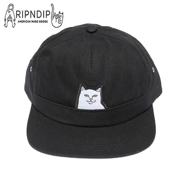 RIPNDIP キャップ リップンディップ ストラップバックキャップ 猫 CAP 帽子 ブラック RND2102 ネコ