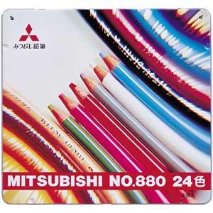 【送料無料!】【メール便】三菱鉛筆 色鉛筆 880級 24色 K88024CPスタンダードなUni色鉛筆880級