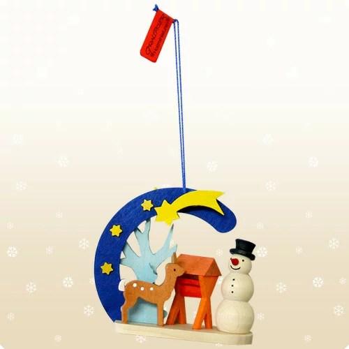【クリスマス用品】Graupner:グラウプナー・クリスマスの流れ星・ゆきだるまと小鹿[ Christmas:クリスマスオーナメント ]★一年の感謝を込めて♪最短発送!★
