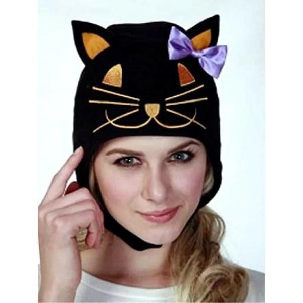 ハロウィンキャット 黒猫 キャップ【ブラック キャット ねこ ネコ かぶりもの 動物 帽子 仮装 ハロウィン】定形外発送