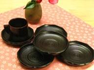 【当店人気の茶托】黒ビリ筋茶托13.5cm 1枚(漆器 木製