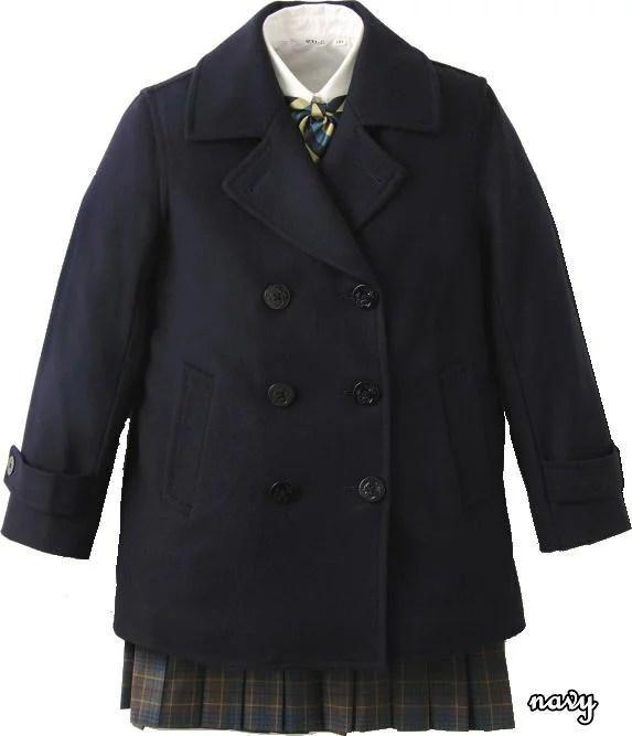 【ジュニアサイズ】【男女兼用】定番Pコート スクールコート(ピーコート)スタンダードなデザインで長年愛されている学生コート 紺/ネイビー