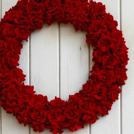 *レッドローズリース『LL』〜約43cm〜【リース】【アートフラワー】【クリスマスリース】【バレンタイン】【玄関】【クリスマス】【クリスマス