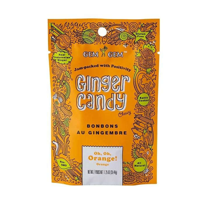 GEMGEM ジンジャーキャンディ Ginger candy【ジンジャーキャンディー/オレンジジンジャー】天然成分/おやつ/オレンジ/美味しい健康食品キャンディー*17個で送料無料♪(5,250円以上で送料無料)