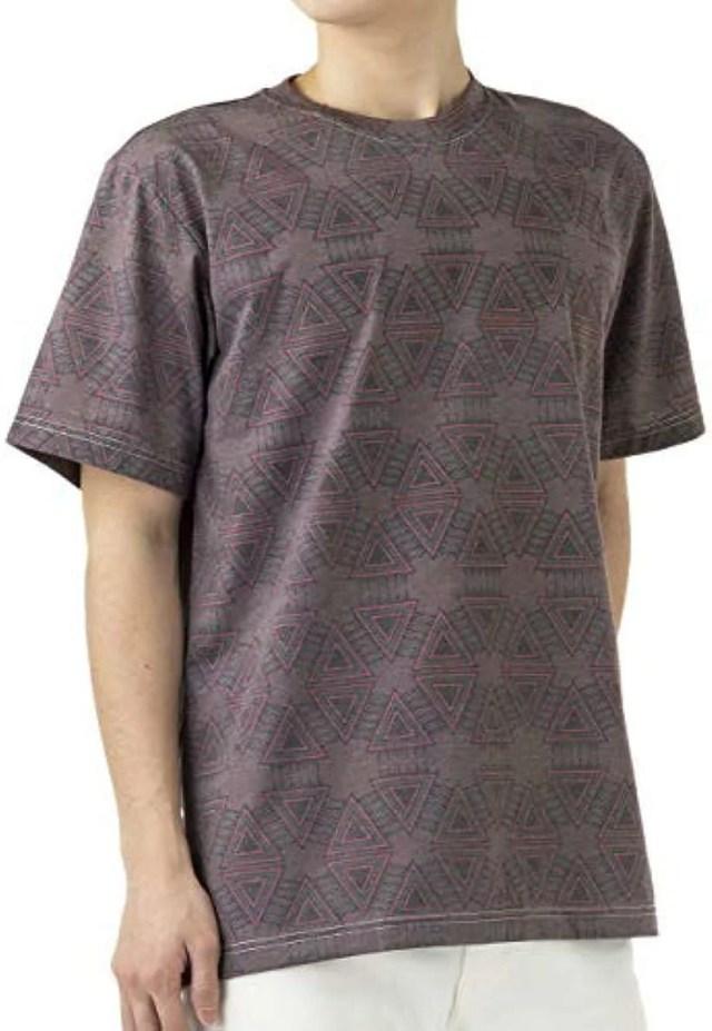 エスニック コットン Tシャツ メンズ ネイティブ柄(コロンボ, 03. L)