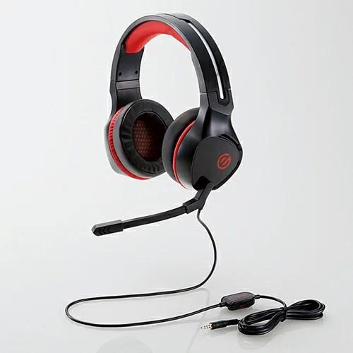【即納】【送料無料】エレコム ゲーミングヘッドセット/両耳オーバーヘッド/4極ミニプラグ/50mmドライバ/極厚イヤーパッド/コントローラ付属/ブラック [HS-G01BK]