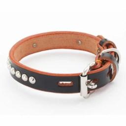 ペティオ 手縫平首輪中一 革 レザー 24mm ブラック 犬