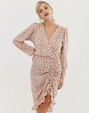 リクオリッシュ レディース ワンピース トップス Liquorish mini wrap dress with ruffle hem in star print Pink