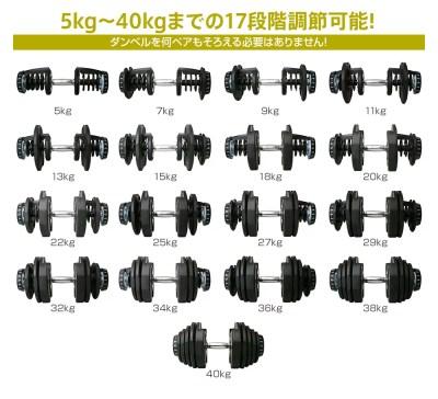 リオレス可変式ダンベル40kg×2個セット
