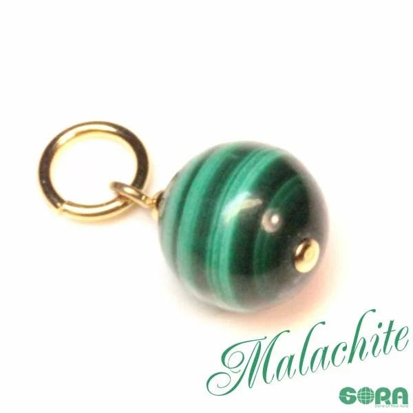 チャーム 災難回避祈願!AAAAAマダガスカル産マラカイト 10mm  パワーストーン 天然石 ◆