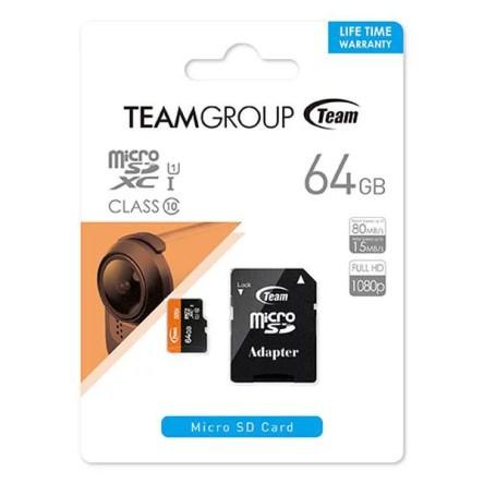 Team MicroSD SDXC 64GB 型番 TUSDX64GUHS03 UHS-1 Class10 SDカード変換アダプタ付き 10年保証