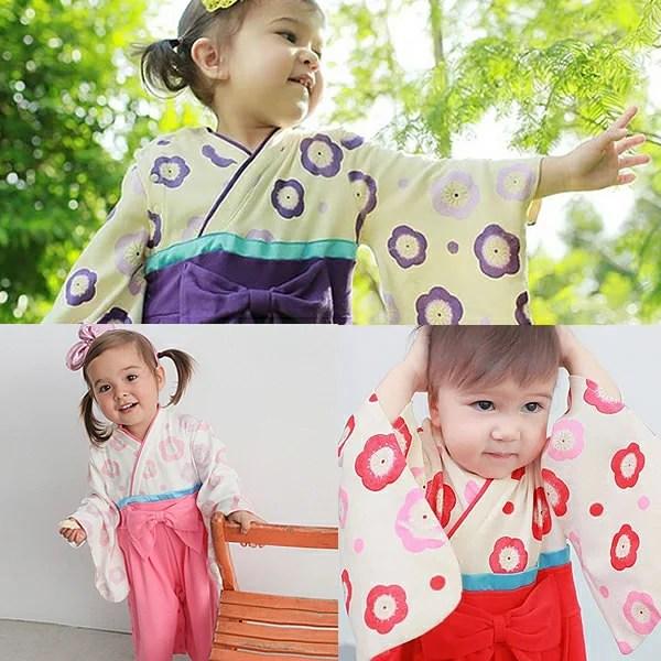 ■袴風ベビーロンパース(カバーオール)■綿100%■サイズ70/80/90■赤・紫■長袖■袴オール/