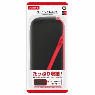 コロンバスサークル Nintendo Switch用 スリムソフトポーチ ブラックレッド CC-NSSSP-BR