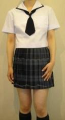 SH01紺縁取り変形白衿半袖セーラー服