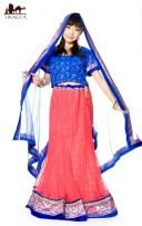 【1点物】インドのレヘンガ 【サーモン×青】 / ドレス ウェディング レンガ 送料無料 レビューでタイカレープレゼント あす楽