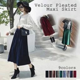 【最新】ベロアプリーツスカート上品な光沢感が華やかさを演出