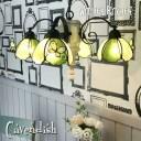 シャンデリア 【Cavendish・キャベンディッシュ】 LED対応 フラワー 蝶 4灯 ペンダントライト ステンドグラス ランプ