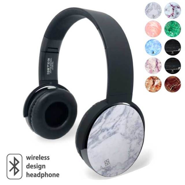 Bluetooth ワイヤレス イヤホン ヘッドホン ヘッドフォン ブルートゥース ゲーミング ヘッドセット デザイン 重低音 プリント ガジェット 大理石 人気 マーブル プレゼント ギフト