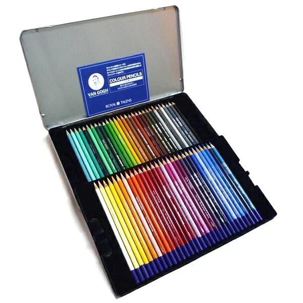 【色鉛筆セット 大人の塗り絵 コロリアージュ】ヴァンゴッホ 色鉛筆 60色セット (メタルケース入り)