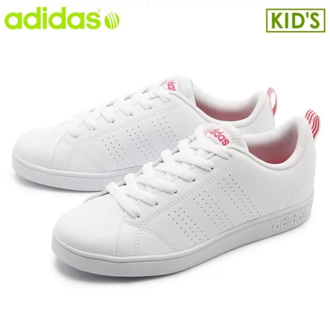 アディダス adidas スニーカー バルクリーン2 K ランニングホワイト×ピンクVALCLEAN