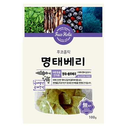 후코홀릭 강아지 수제간식 100g, 명태 + 블루베리 혼합맛, 1개