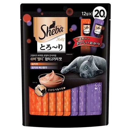 쉬바 멜티 고양이 파우치 간식 참치 10p + 참치와 해산물 10p, 쉬바 멜티 참치 2가지맛 240g(12gX20), 1세트