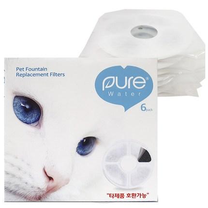 퓨어워터 고양이 정수기 급수기 필터, 6개입