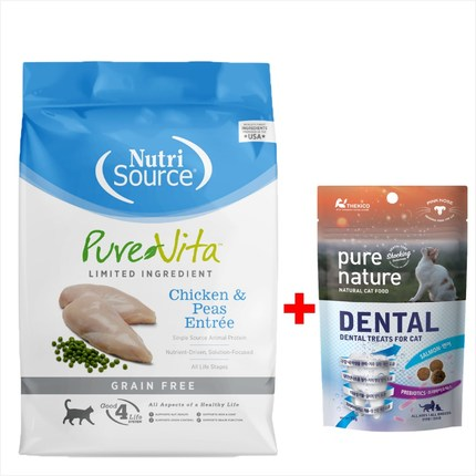 퓨어비타 캣 치킨 그레인프리 유산균 설사예방 고양이 사료 + 고급간식, 4. 캣 치킨 3kg(단품)