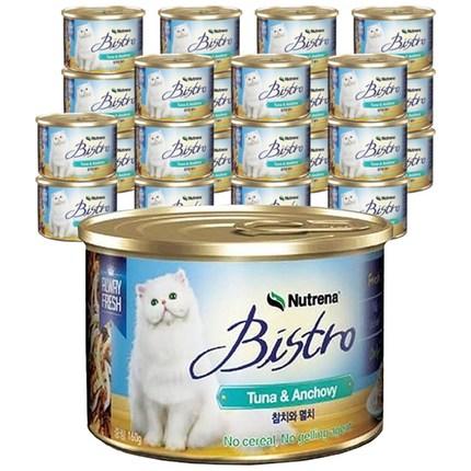 뉴트리나 비스트로 참치와 멸치 고양이캔, 160g, 24개