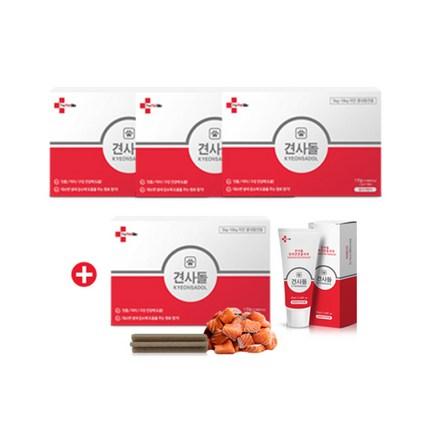 견사돌 3박스+1박스+치약1개 (70ml) 치석제거 잇몸건강 간식 연어첨가 껌 강아지 간식 애견 간식, 3+1박스+치약1개(70ml), 소형견용, 연어맛(14개입)X4+치약1개