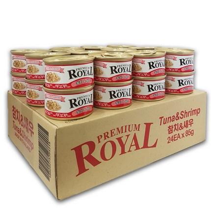 프리미엄 로얄 (1box/24개입) 고양이 캔 간식 통조림, 참치+새우, 24개입