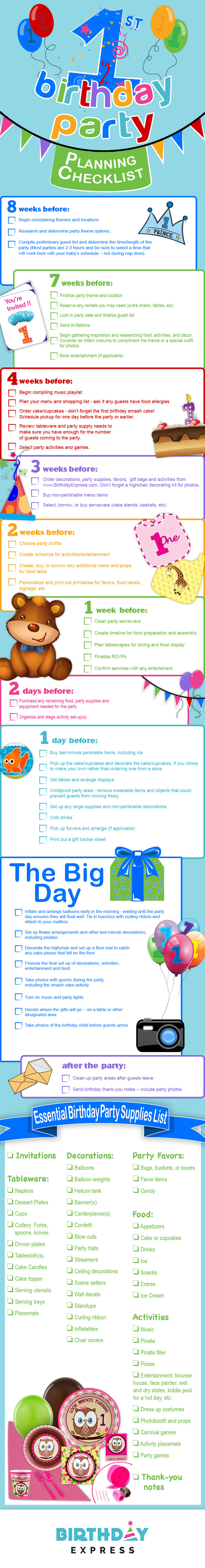 1st Birthday Party Planning Checklist Visual Ly