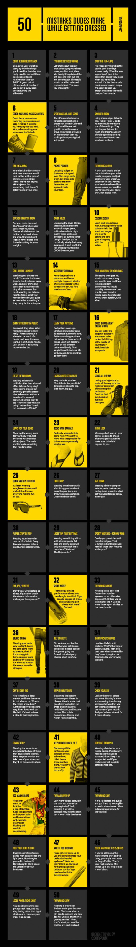 50 Mistakes Dudes Make While Getting Dressed Infographic