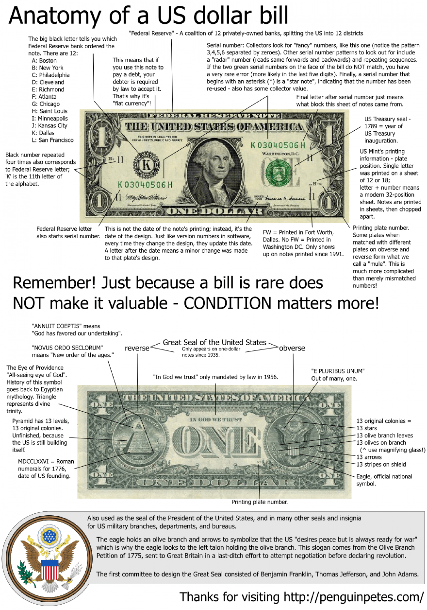Anatomy Of A U S Dollar Bill