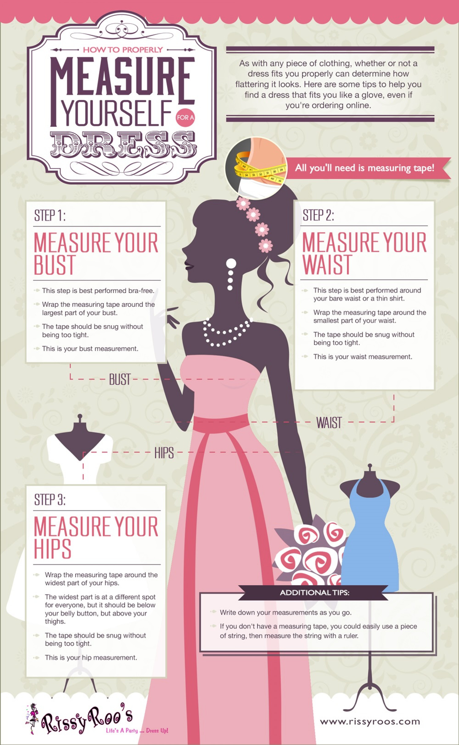 How To Properly Measure Yourself For A Dress Visually