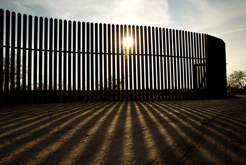 A controversial and incomplete section of the border wall along the Rio Grande River in South Texas.