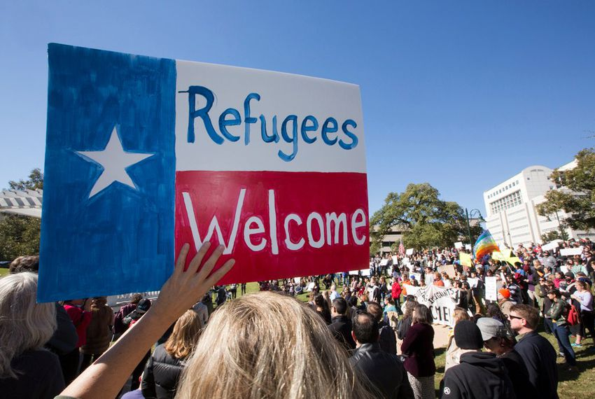 A group gathered at Wooldridge Park in Austin on Nov. 22, 2015, to protest Gov. Greg Abbott's decision not to accept refugees from Syria.