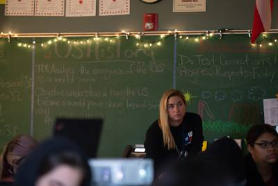 Marcy Emerick, an educator at Akins High School in Austin ISD, teaches U.S. History to a class of juniors in October.
