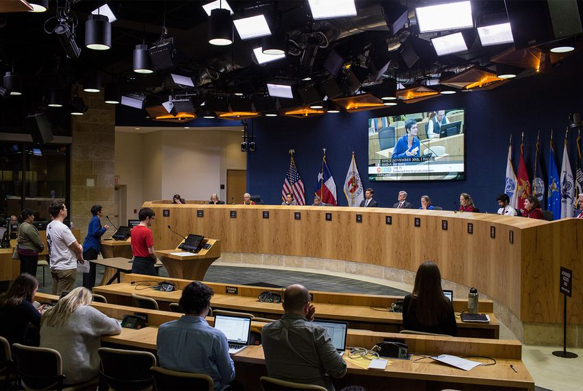 Austin City Council members and staff listen to testimony on paid sick leave on Thursday, Feb. 15, 2018. After hearing from more than 200 people, council members passed the ordinance, the first of its kind in Texas, by a vote of 9-2.