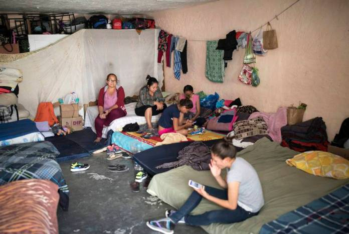 El Buen Pastor migrant shelter has held 80 to 110 migrants for the past two weeks. Its capacity is 60.