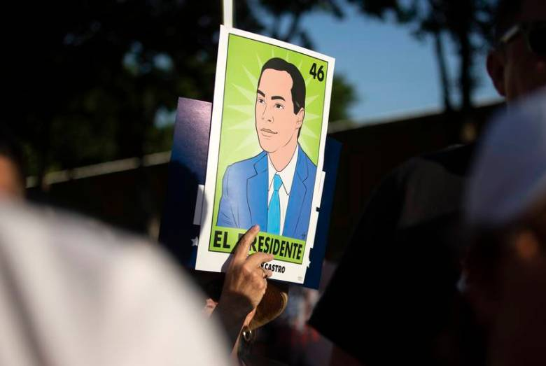 Presidential candidate Julián Castro speaks to supporters at a rally in San Antonio after an earlier visit by President Donald Trump, on April 10, 2019.